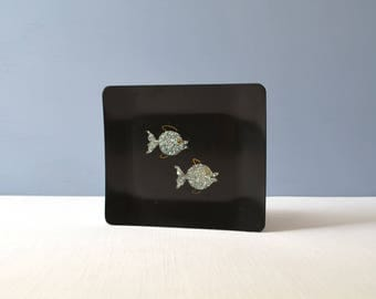 Two Vintage Couroc of Monterey Mod Fish Trays