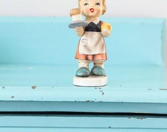 Antique Hummel Little Server with Hummel stamp, antique Hummel figurine, Hummel girl with milk bread, vintage girl figurine, girl nursery