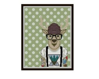 Hipster Deer Cross Stitch Pattern - Deer Cross Stitch Pattern - Modern Tattoo Cross Stitch Pattern - Hipster Cross Stitch