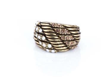Vintage Heidi Daus Smoky Quartz and Moonstone Crystal Ring Size 5 3/4