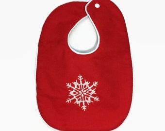 Christmas Bib - Snowflake bib - Holiday Bibs - Baby's first Christmas - Red Bib With Snowflake - Bib Baby Girl - Baby Gifts - Baby boy Bib