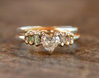 Vintage 0.50 Carat Heart Diamond Engagement Ring and 0.28 Carat Enhancer Wrap 14K Yellow Gold Romantic Wedding 1990's / Vintage Fine Jewelry