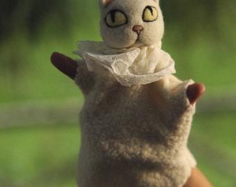 White cat - hand puppet - needle and wet felted - optionally custom