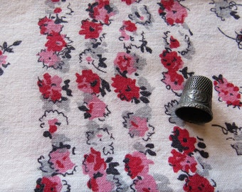 vintage feed sack -- floral print fabric/towel