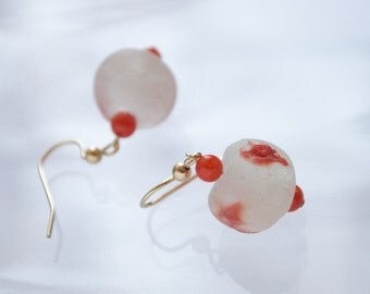KIMA recycled glass dangle earrings, coral gemstone drop earrings, funky asymmetrical red earrings, gold filled earrings