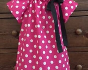 Peasant Dress - Pink and White Polka Dot Dress - Minnie Inspired Dress - Girls size 18 Months - Ready to Ship by Emma Jane Company