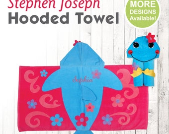 Dolphin Hooded Towel, Stephen Joseph Hooded Towel, Kids Beach Towel, Hooded Bath Towel, Sea Creature Towel, Hooded Towel for Kids