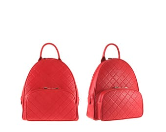 Quilted leather backpack KATLYN // red (Italian calf skin) - FREE shipping, UNIQUE bag