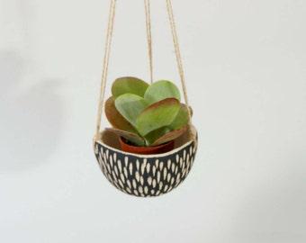 Modern Hanging Planter Ceramic Hanging Planter ~ Black & White Planter Ceramic Planter Plant Pot Hanging Plant Pot ~ Cactus Pot Unique Gift