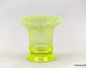 Fenton #37 Miniature Flared Vase in Topaz Opalescent / Vaseline Glass - Vintage 1940s Fenton Glass