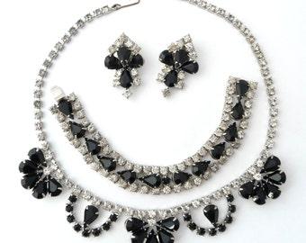 Vintage Black White Rhinestone Necklace Bracelet Earrings Full Parure from TreasuresOfGrace