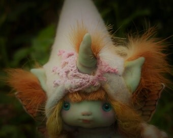 sweet blue unicorn  ooak posable   tiny  fairy fairie fae