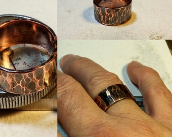 Extra Wide Copper Band Ring Hand Hammered Rugged Manly or Boho Minimalist Rustic Men's or Woman's  #R113