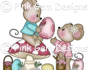 Digi Stamp Easter Mice  - Mouse, Mice, Makes Cute Easter Cards