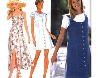 Sexy Simplicity Pattern 9614 Button Up Front Jumper Sleeveless Dress Size 6-8-10