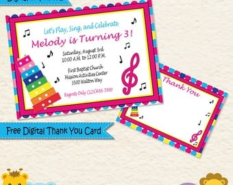 Music Theme Invitations  • Music Birthday Party Invitation • Toddler Girl Music Party • 1st Birthday Party Invitation • Music Note Invite