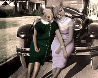 Mary & Rhoda, Squirrel Art Print,  Anthropomorphic, Whimsical Squirrel, Wildlife Art, Squirrel Photo Collage, Funny Squirrel, Quirky Art