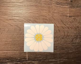 Daisy Monogram Vinyl Decal, Yeti Decal, Monogram, Vinyl Monogram Phone Sticker, Flower, Laptop Decal, Daisies, cute