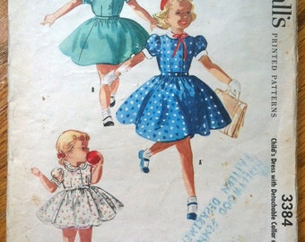 1950's McCall's Girls' Dress with Detachable Collar and Cuffs Pattern - Size 1 - No. 3384