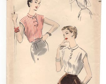 "1950's Vogue Blouse Pattern with Button detail - Bust 36"" - UC/FF - No. 7605"