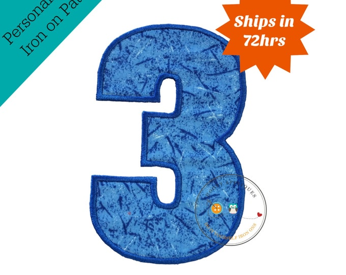 Large blue number 3- iron embroidered fabric applique patch embellishment- ready to ship