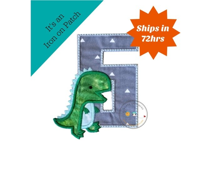 Dinosaur birthday number six machine embroidered patch, fast shipping iron on Dino birthday applique, green and gray number 6