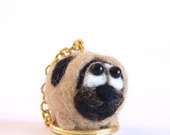 Needle Felted Pug, Felted Pug Hanging Ornament , Pug Handbag charm, felted dog, wool pug