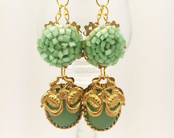 Assemblage Beautiful Vintage Earrings done in Mint Greens - From The Embellishing Room