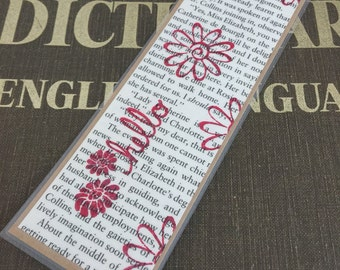 Hello Bookmark on Pride and Prejudice Book Page, Laminated Upcycled Bookmark, Gift for Readers