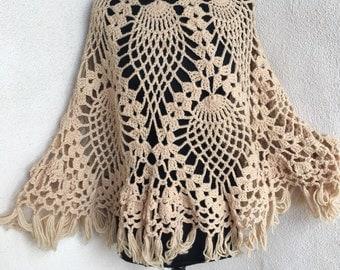 Vintage boho fabulous dark beige crochet fringe poncho one size