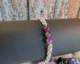 Amethyst Stacking Bracelet with Micro Byzantine Chainmaille