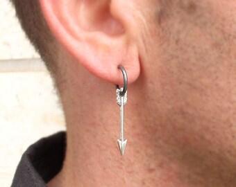 Mens Earring, Arrow Earring for men, Unisex Jewelry, Mens Jewelry, Black Hoop, Gifts for Men - mens style - Single Arrow Charm Earrings