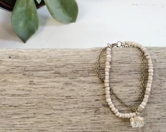 URBAN HOPE Bracelet - Arise Creations - Beige Beaded Bracelet - Gold Wrapped Glass Pendant - Boho Bracelet - 1 Peter 5:10 - Gift for Her