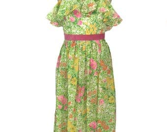 vintage 1970's floral maxi dress / Act I / flounce / spaghetti straps / spring summer / floral gown / women's vintage dress / size small