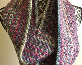Crochet Infinity Scarf in Pink & Blue
