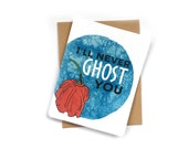Never Ghost You card | cute I Love You card | anniversary card | Food Pun Card | geeky anniversary card | jalapeno pants