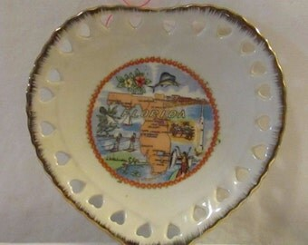 Collectible Florida commemorative heart shaped Plate with gold trim