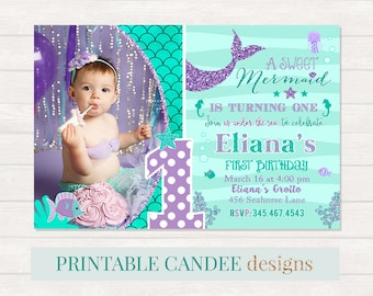Mermaid 1st Birthday Invitation, Mermaid Invite, Under The Sea Party, Teal Purple Mermaid Invitation, Adorable Mermaid Birthday