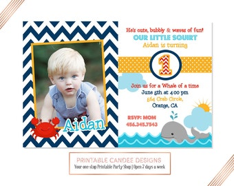 Whale Birthday Invitation, Whale 1st Birthday Invite, Navy and Red Whale Party
