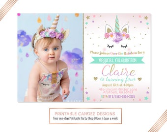 Unicorn Birthday Invitation, Floral Unicorn, Unicorn Party, Rainbow Invitation, Pink Gold Purple Mint