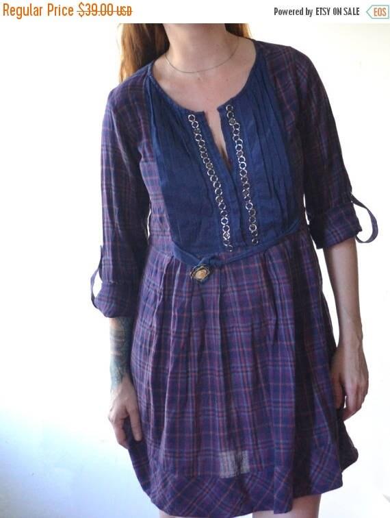 SUMMER SALE Upcycled Plaid Dress - Plaid Shirt Dress - Spring Shirt Dress - Ecofriendy Clothing - Up-cycled Clothing