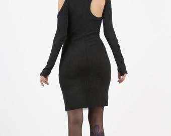 Backless Dress, Thumb Hole Dress, Sweater Dress, Winter Dress, Long Sleeve, Open Sholders