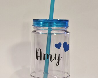 One 16 oz. Personalized Mason Jar Tumbler, Bridesmaids Gifts, Unique Gifts for Teen Girls, Bridesmaid Gift, Personalized Mason Jar
