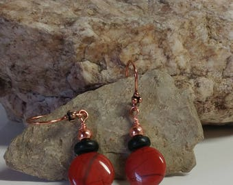 Coin shaped red jasper and black onyx copper earrings