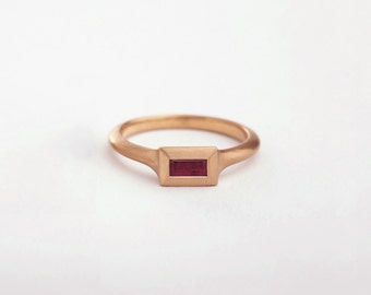 Rose Gold Ruby Ring, Large Ruby Ring, 18k Rose Gold Baguette Ring, Red Engagement Ring, Ruby Stack Ring, Simple Women Baguette Ring