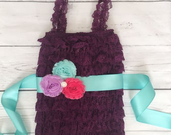 Baby Girls Lace romper-baby girl clothes-purple lace romper-purple aqua baby outfit-1st birthday outfit-cake smash romper-mermaid birthday