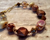 Brown beaded bracelet - copper bracelet - beaded bracelet - gifts for her - one of a kind beaded bracelet - 10 dollars and under jewelry