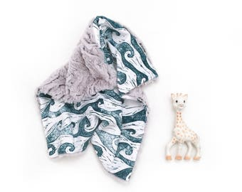 Lovey Ocean Waves. Lovey. Waves Lovey. Teal Lovey. Ocean Lovey. Mini Baby Blanket. Security Blanket. Lovie. Minky Lovey.