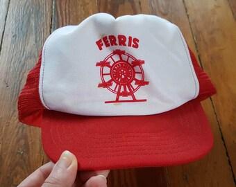 FERRIS CHEVROLET HAT // 80's Red White Trucker Hat Baseball Park Avenue One Size Fits All Vintage  New Philadelphia Ohio Ferris Wheel