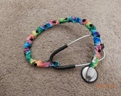 Stethoscope Cover Scrunchie RAINBOW PAWS Protect bare neck & tubing Fits single tube style Wash Reuse Handmade USA Doc Vet Nurse Grad gift